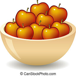 apples in bowl - illustration of apples heap in bowl