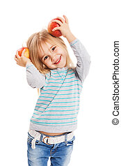 Apples in hands at the girl