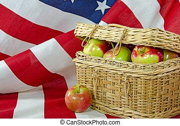 apples in picnic basket
