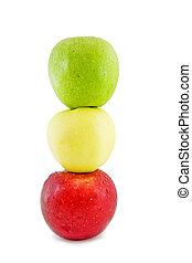 apples-in, tráfico, aislado, form., tres, luz