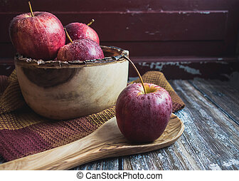 Apples in Wooden Bowl