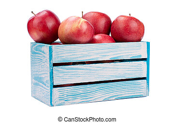 Apples in Wooden Box. Isolated on White Background.