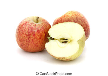 apples isolated on white - apples and cut apple isolated on...