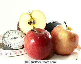 Apples, Measuring tape, Blood Pressure Pump