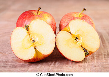 Apples on a wood background