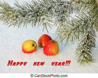 Apples on snow
