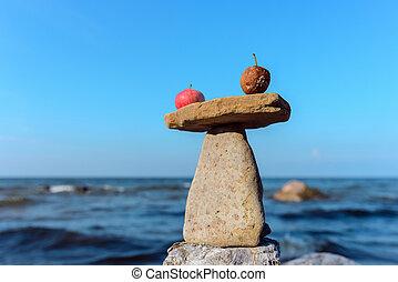 Apples on stone