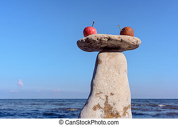 Apples on the stone