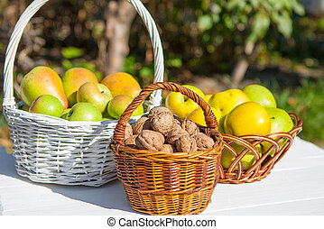 Apples, pears and nuts in basket