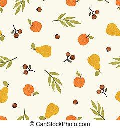 Apples, pears and nuts. Seasonal autumn seamless pattern.