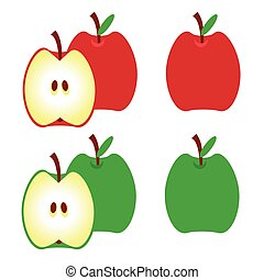 Apples. red apple, green apple, half of apple with leaf. Vector illustration