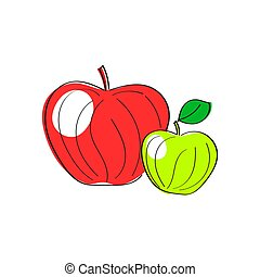 Apples. Set of red, green