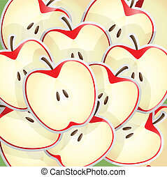 Apples slices pattern - A vector illustration of apples...