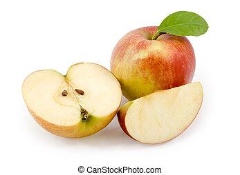 apples., snitt, äpple, vita, bakgrund
