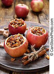 Apples stuffed with granola