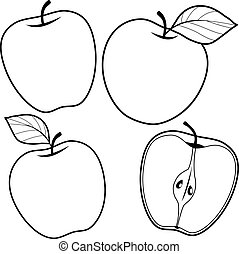 Apples. Vector black and white coloring page.