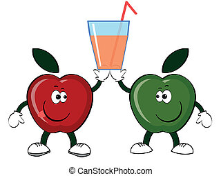 Apples with glass of the juice