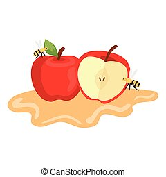apples with honey and bee flying on white background