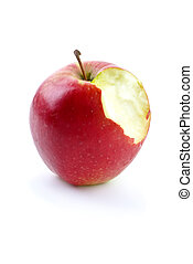 Apples with piece bitten off isolated on the white background