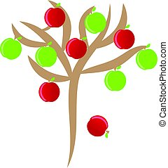 Apples with tree on white background