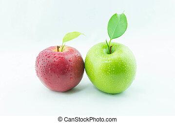 apples., zielony czerwony