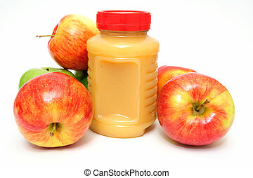 Applesauce - Fresh Apples both green and red with a jar of ...