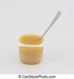 Applesauce portion on white background