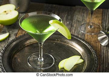 appletini, verde, caseiro, coquetel, alcoólico