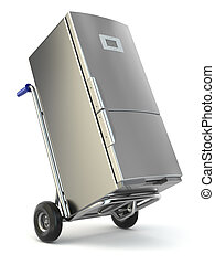 Appliance delivery. Hand truck and fridge. 3d