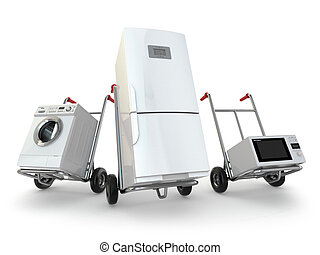 Appliance delivery. Hand truck, fridge, washing machine and...
