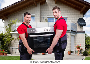 Appliance Home Delivery And Repair. Movers With Oven