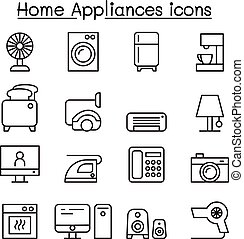 Appliance icon set in thin line style