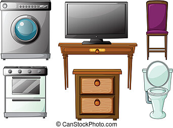Appliances and furnitures - Illustration of house appliances...