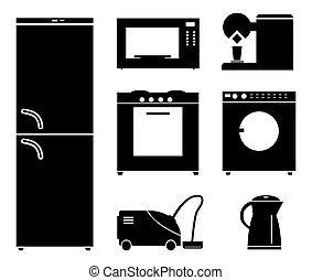 appliances., casa, conjunto, negro, iconos