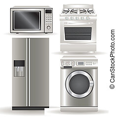 Appliances, contains washing machine, stove, microwave and refrigerator, vector illustration
