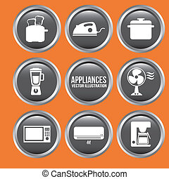 appliances design over orange background vector illustration