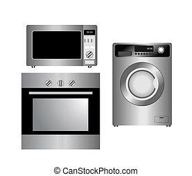 appliances., hushåll, isolated., sätta