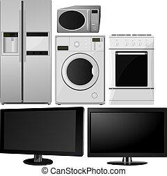 appliances., husholdning, vektor, samling