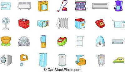 Appliances icon set, cartoon style