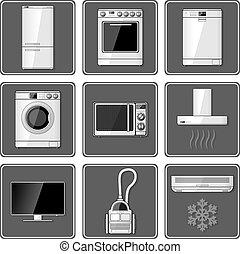 appliances., lar, jogo, realístico