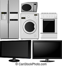 appliances., ménage, vecteur, collection