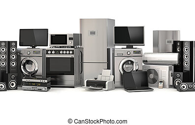 appliances.seamless, refrigerato, pattern., cuisinière, tv,...