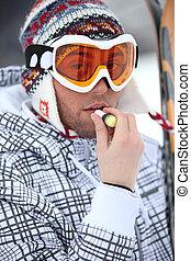 applicare, balsamo, labbro, sciatore