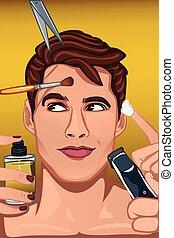 applicare, bellezza, faccia, vario, prodotti, uomo