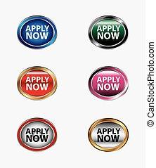 applicare, bottone, ora, icona
