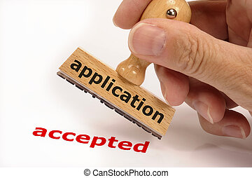 application accepted - rubber stamp marked with application ...