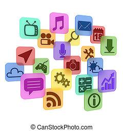 application - app icons 3d concept