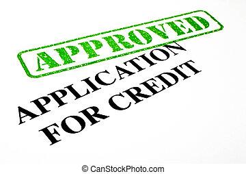 application, approuvé, crédit
