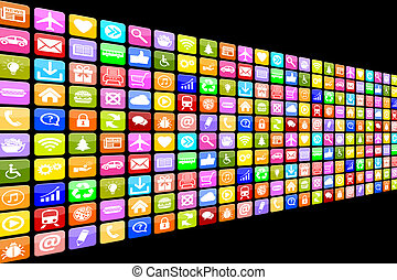 Application Apps App Icon Icons multimedia set for mobile or smart phone