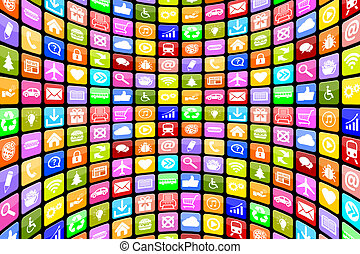 Application Apps App Icon Icons multimedia for mobile or smart phone background